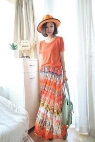 Orange Printed Loose Chiffon Long Skirt