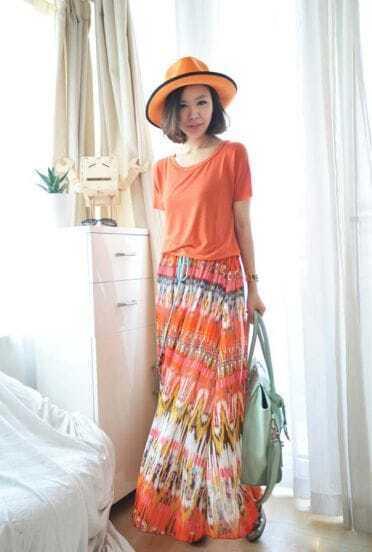 Orange Printed Loose Chiffon Long Skirt
