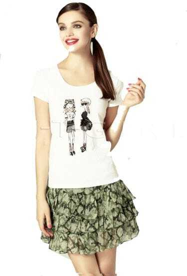 White Beaded Grils Round Neck Short Sleeve T Shirt