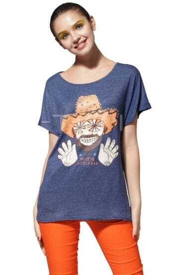 Blue Mr Mustache HELLO Print Scoop Neck Short Sleeve Studded T-shirt