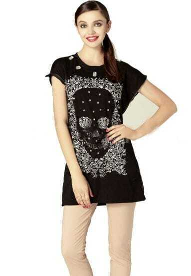 Black Rhinestone Embellished Skull Print Short Sleeve T Shirt with Zip Side