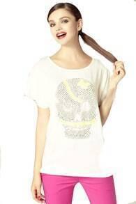 White Rhinestone Skull Round Neck Short Sleeve T-shirt