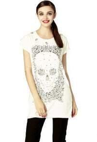 White Rhinestone Embellished Skull Print Short Sleeve T Shirt with Zip Side
