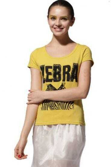 Yellow Rhinestone Zebra Round Neck Short Sleeve T Shirt