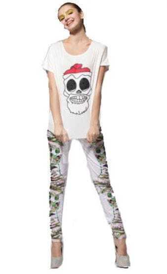 White Rhinestone Skull Print Loose Round Neck Short Sleeve T Shirt