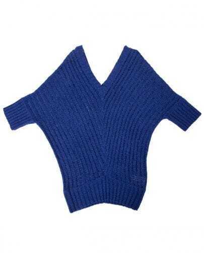 Blue V Neck Bat Half Sleeve Solid Loose Shirt