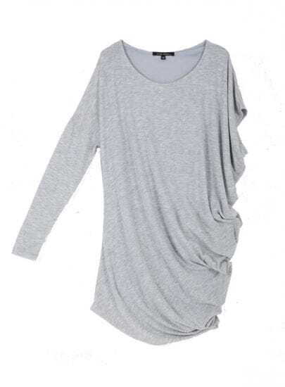 Solid Grey Round Neck Irregular Sleeve Loose Dress