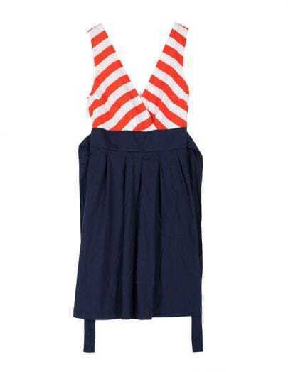 Orange Striped Blue Pin Up V Neck Sleeveless High Waist Dress