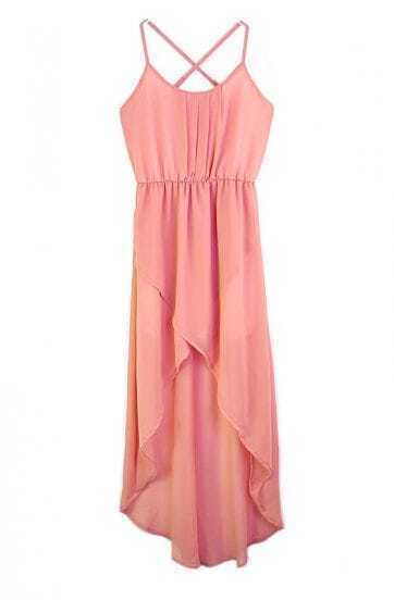 Solid Pink Spaghetti Strap Sleeveless Irregular Chiffon Dress
