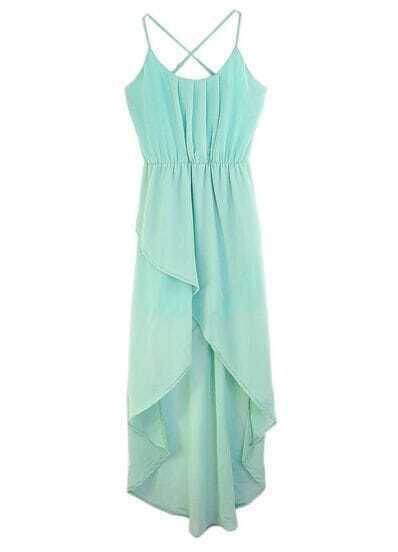Solid Green Spaghetti Strap Sleeveless Irregular Chiffon Dress