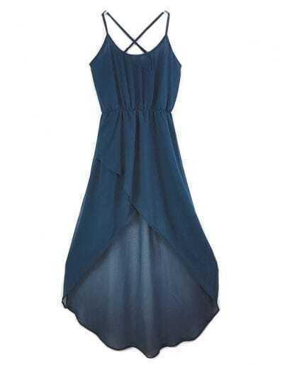 Solid Blue Spaghetti Strap Sleeveless Irregular Chiffon Dress