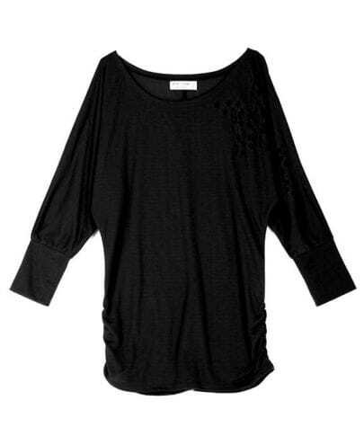 Black Star Hollow Out Dolman Sleeve Ruched Side T-shirt