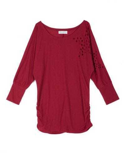 Dark Red Star Hollow Out Dolman Sleeve Ruched Side T-shirt