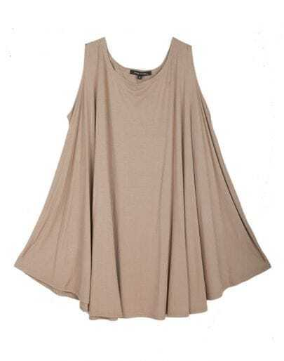 Khaki Scoop Neck Sleeveless Long Flare Hem T-shirt
