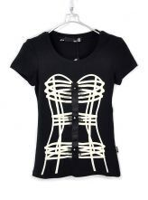 Black Corset Print Short Sleeve T-shirt with Lace Embellished