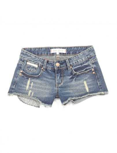 Blue Mid Waist Slim Denim Shorts