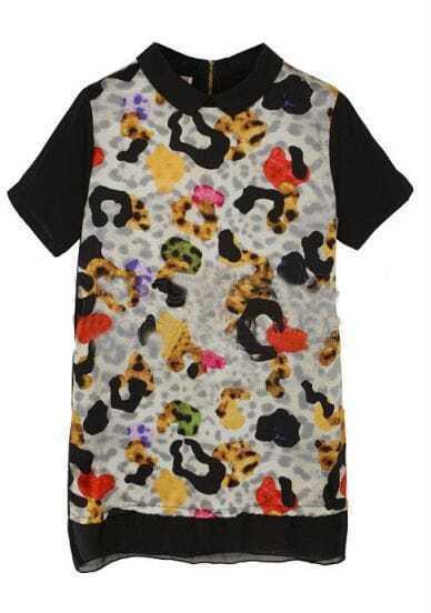 Black Leopard Print Vintage Short Sleeve Above Knee Dress