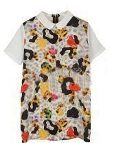 White Leopard Print Vintage Short Sleeve Above Knee Dress