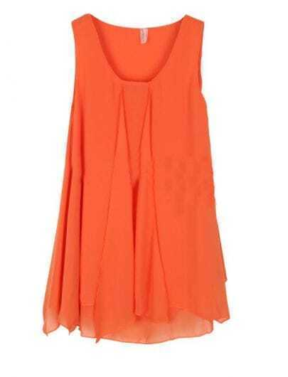 Orange Round Neck Asymmetrical Edge Chiffon Tank Shirt