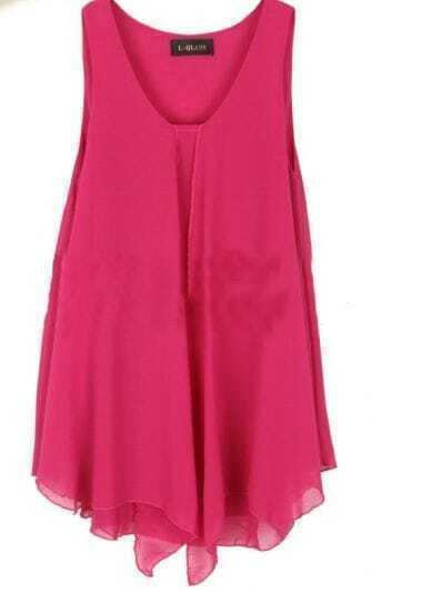 Rose Red Round Neck Asymmetrical Edge Chiffon Tank Shirt