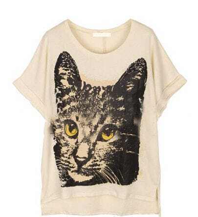 Beige Cat Print Loose Round Neck Short Sleeve T Shirt