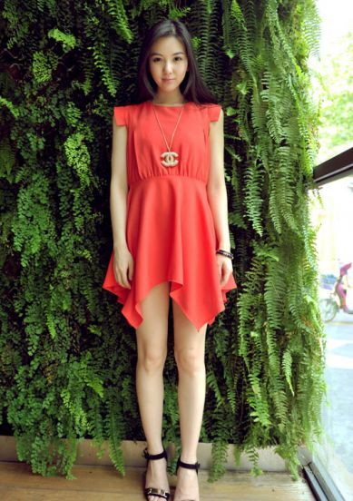 Orange Round Neck Chiffon  Tank Above Knee Dress