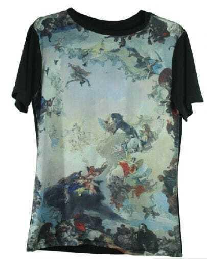 Black Paintily Angel and War Print Short Sleeve Contrast Chiffon T-shirt