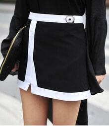 Black Modern Mini Above Knee Skirt