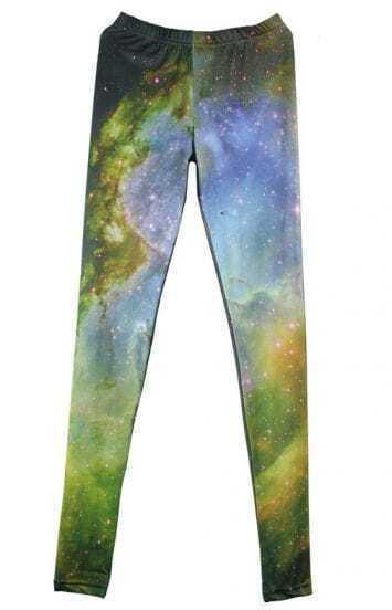 Green Galaxy Print High Waist Leggings