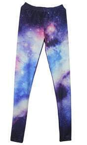 Purple Galaxy Print High Waist Leggings