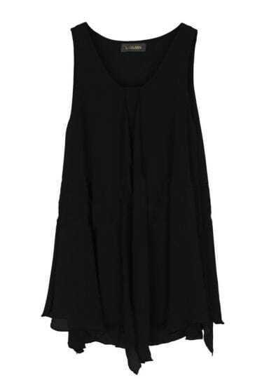 Black Round Neck Asymmetrical Edge Chiffon Tank Shirt
