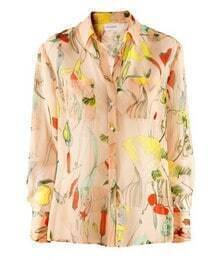 Beige Floral Print Dipped Hem Long Sleeve Blouse