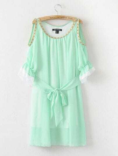 Solid Green Round Neck Short Sleeve Off The Shoulder Chiffon Dress