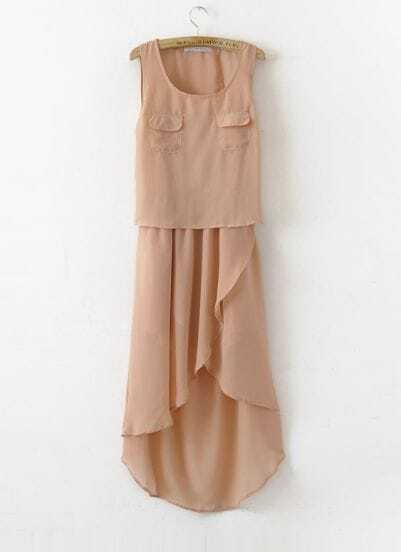 Pockets Pink Round Neck Sleeveless Irregular Chiffon Dress