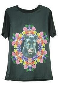 Black Flower Wolfdog Print Round Neck Short Sleeve T Shirt