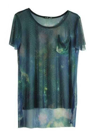 Green Galaxy Print Transparent Short Sleeve Dipped Hem T Shirt