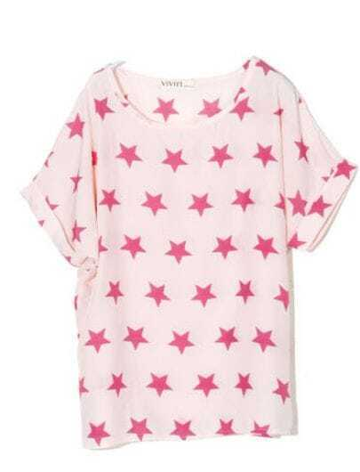 Pink Stamped Star Print Scoop Neck Turn Up Short Sleeve T-shirt