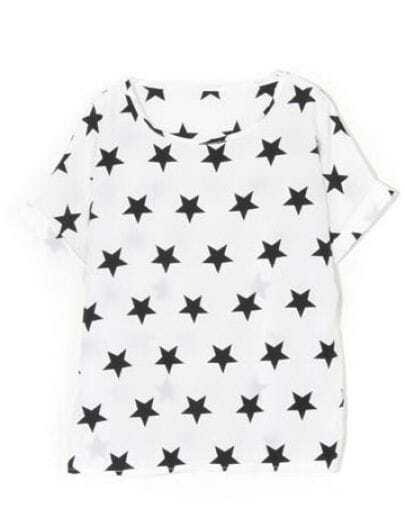 White Star Print Round Neck Short Sleeve T Shirt