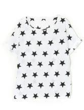 White Star Print Round Neck Short Sleeve T Shirt
