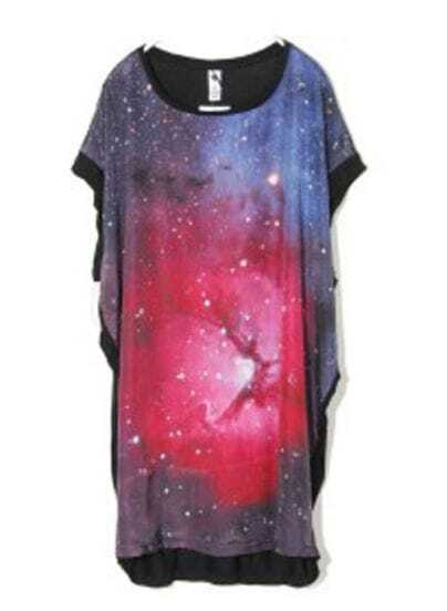 Galaxy Print Round Neck Short Dolman Sleeve Long T Shirt
