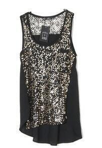 Black Round Neck Sequined Chiffon Tank Shirt