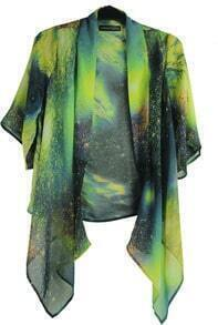 Green Galaxy Print Chiffon Cardigan Shirt