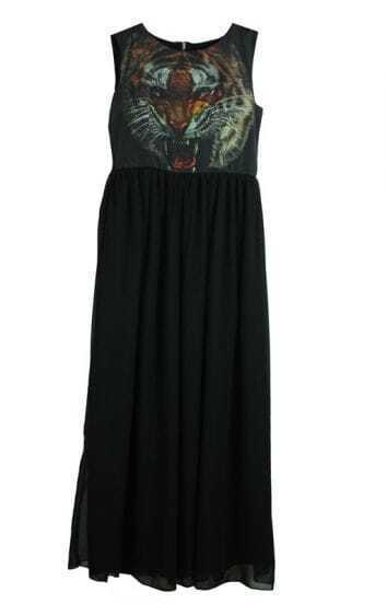 Black Tiger Print Round Neck Chiffon Tank Full Length Dress