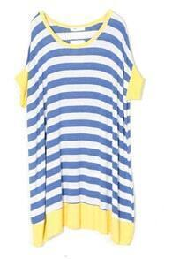 Blue Stripe With Yellow Edge Round Neck Short Sleeve Dress