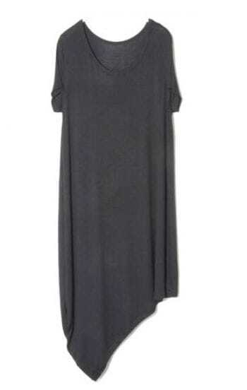 Black Round Neck Short Sleeve Asymmetrical Dress