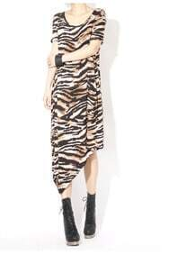 Leopard Stripe Round Neck Short Sleeve Asymmetrical Dress