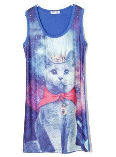 Blue Cat Print Round Neck Tank Above Knee Dress