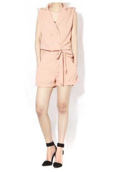 Pink Double Breasted Sleeveless Conventional Collar Shorts Jumpsuit