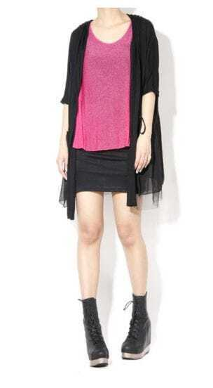 Black Weave Short Sleeve Cardigan Sweater