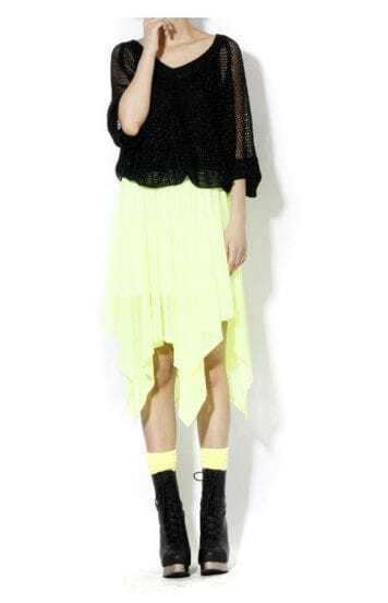 Yellow Pleated Asymmetrical Knee Length Skirt